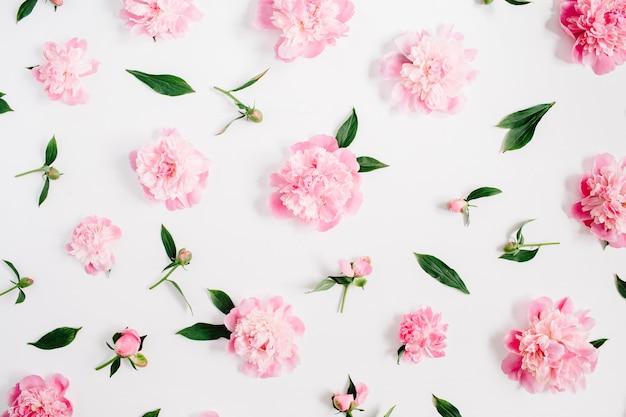 Bloemenpatroon van roze pioenroos bloemen, takken, bladeren en bloemblaadjes op wit