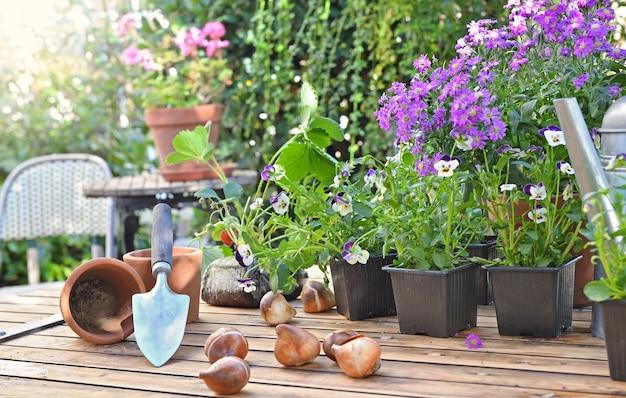 Bloemenpotten en bollen op een tuintafel in huisterras
