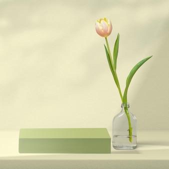 Bloemenproductachtergrond met tulp in groen