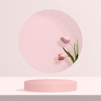 Bloemenproductachtergrond met tulp in roze
