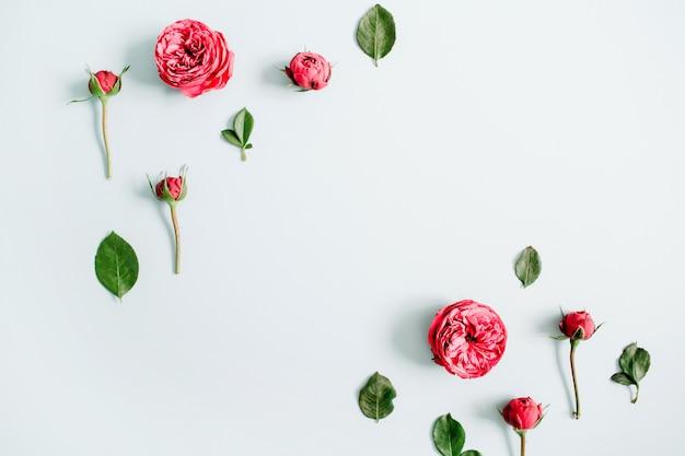 Bloemenrandkader gemaakt van rode rozen op bleke pastelblauw
