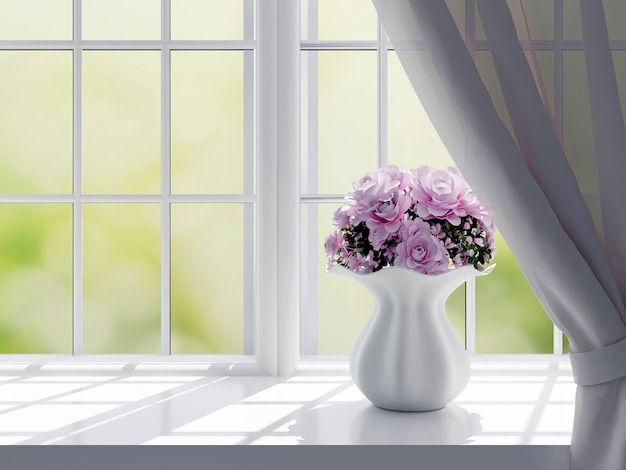 Bloemenvaas op venster