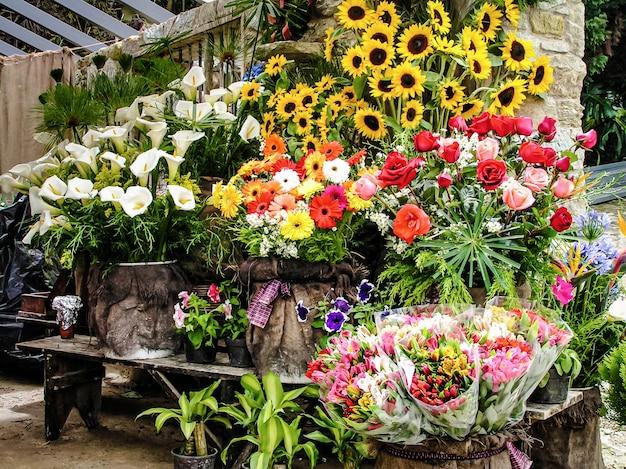 Bloemenwinkel in venezuela met tropische bloemen. verkoop van exotische bloemen in latijns-amerika. tropische bloemen.