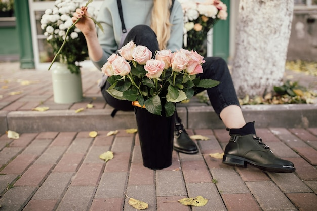 Bloemisterij concept. boeket van prachtige bloemen