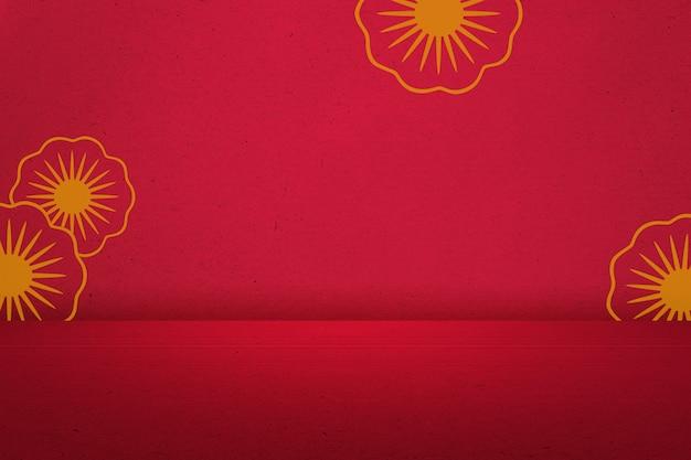 Bloemmotief op een rode muur achtergrond