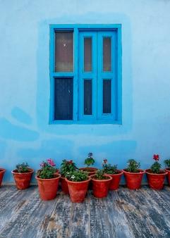 Bloempotten met blauwe muur