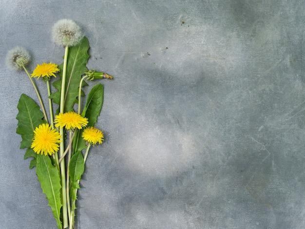 Bloemstuk van paardebloemen op een grijze achtergrond.
