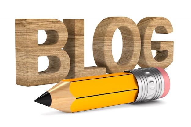 Blog en potlood op witte ruimte. geïsoleerde 3d-afbeelding
