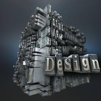 Blok met metalen drukletters en het woordontwerp