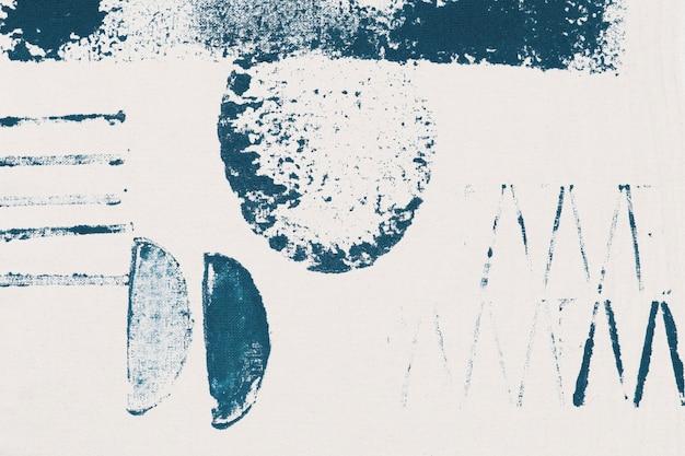 Blokafdrukken met blauw memphis-patroon als achtergrond