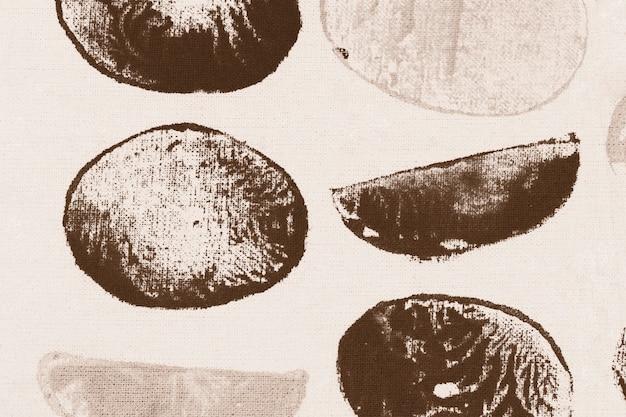 Blokafdrukken met bruine cirkelpatroon als achtergrond