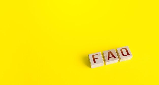Blokken met het woord afkorting faq veel gestelde vragen
