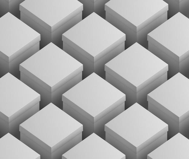 Blokken van witte lege simplistische kartonnen dozen