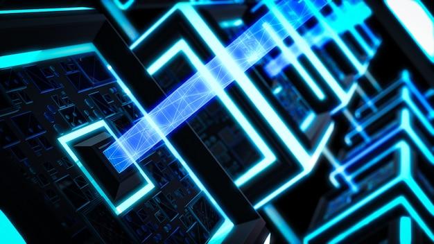 Blokketen, moderne sci fi-technologieachtergrond.