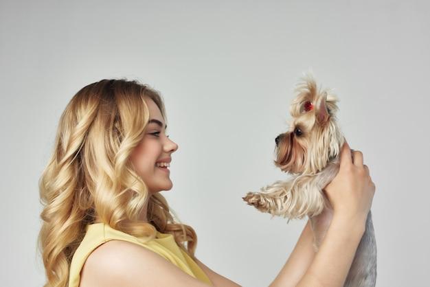 Blonde huisdier poseren mode geïsoleerde achtergrond