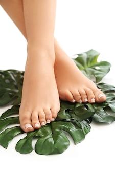 Blote voeten op bladeren. voetverzorging en pedicure concept