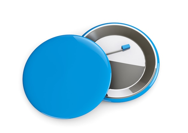 Blue badges voor- en achteraanzicht op een witte achtergrond