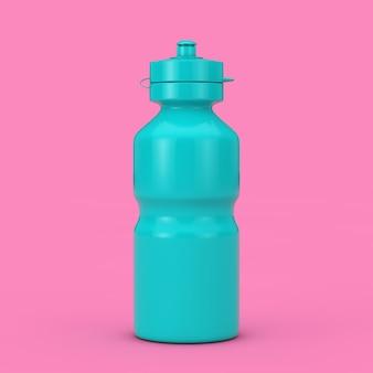 Blue bike water sport bottle mockup in duotone stijl op een roze achtergrond. 3d-rendering
