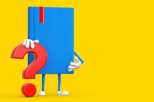 Blue book mascotte persoon karakter met rood vraagteken teken op een gele achtergrond. 3d-rendering