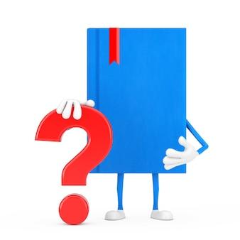 Blue book mascotte persoon karakter met rood vraagteken teken op een witte achtergrond. 3d-rendering
