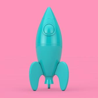 Blue childs toy rocket mockup duotone op een roze achtergrond. 3d-rendering