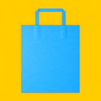 Blue craft paper bag mockup met lege ruimte voor uw ontwerp op een gele achtergrond. 3d-rendering