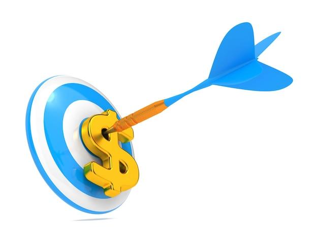 Blue dart hit the dollar sign geïsoleerd