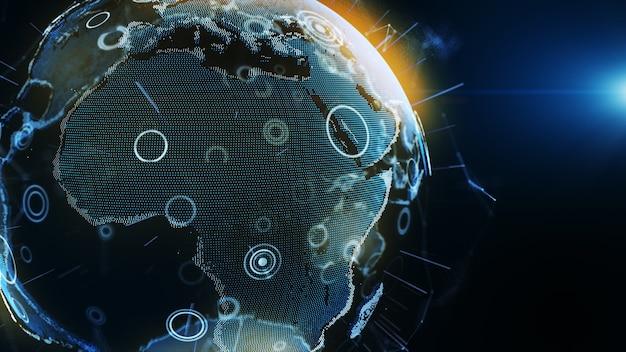 Blue earth digitale technologie met cirkel en balk op donkerblauwe achtergrond.