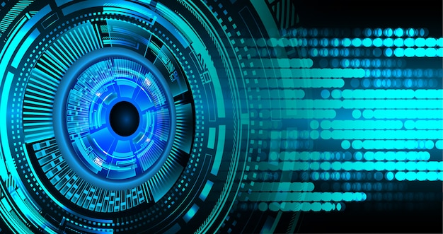 Blue eye cyber circuit toekomst technologie concept achtergrond