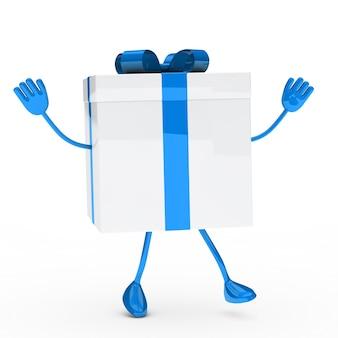 Blue geschenk met armen en benen