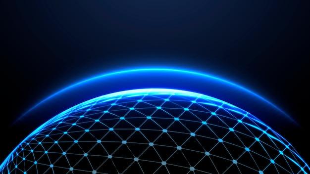 Blue globe gloeiende sfeer behang
