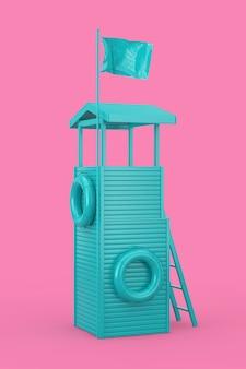 Blue lifeguard tower als duotone style op een roze achtergrond. 3d-rendering