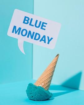 Blue maandag concept met ijs