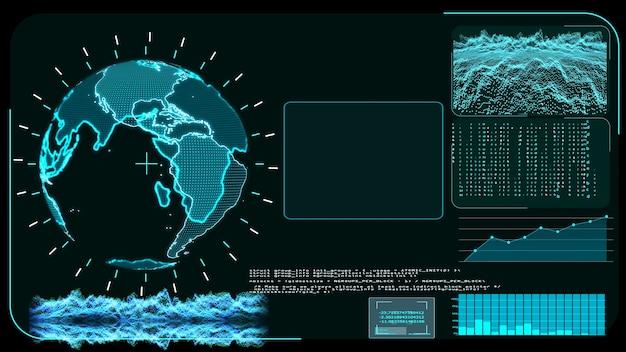 Blue monitor digitale wereldwijde wereldkaart en analyseprogramma voor technologieonderzoek
