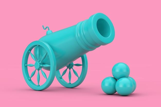 Blue old pirate cannon met cannonballs duotone op een roze achtergrond. 3d-rendering