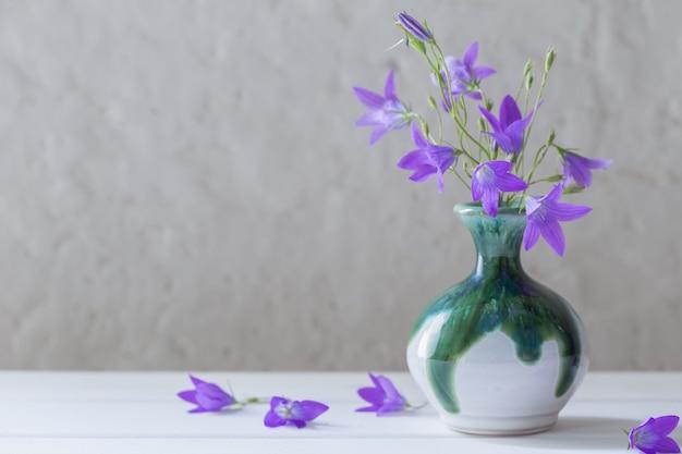 Bluebell in vaas op witte muur