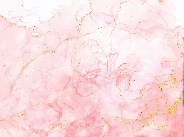 Blush roze aquarel vloeistof schilderij ontwerp kaart rose goud marmeren frame lente bruiloft