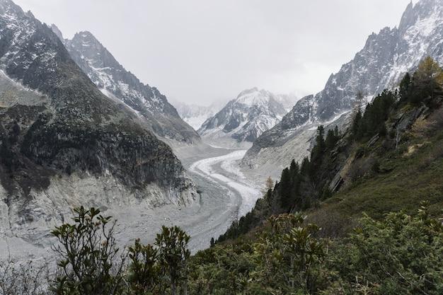 Bochtige weg in het midden van besneeuwde bergen onder een bewolkte hemel