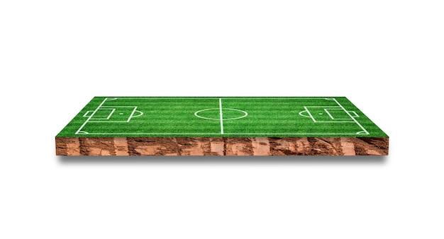 Bodemdwarsdoorsnede met geïsoleerd grasvoetbalgebied. 3d-weergave.