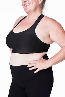 Body positivity bochtige vrouw sportkleding outfit