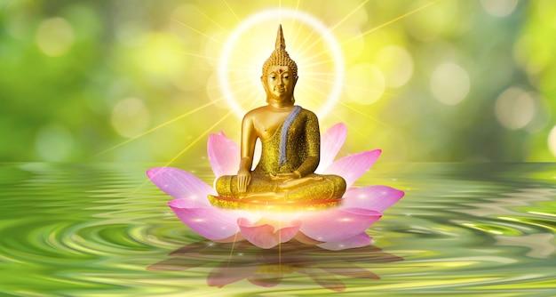 Boeddha standbeeld water lotus boeddha staande op lotusbloem op oranje achtergrond
