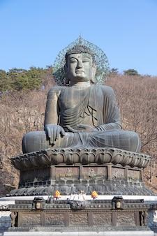 Boeddhabeeld in de sinheungsa-tempel, seoraksan national park in korea Premium Foto