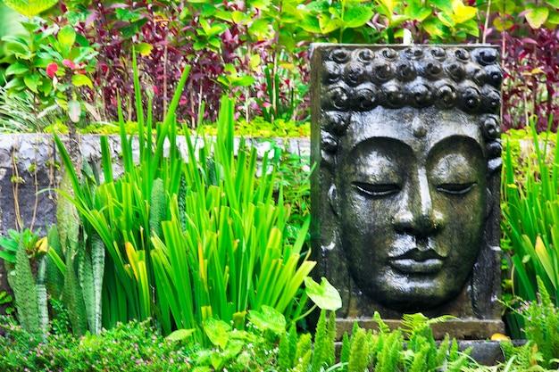 Boeddhabeeld met vallend water in de tropische tuin in ubud, bali, indonesië