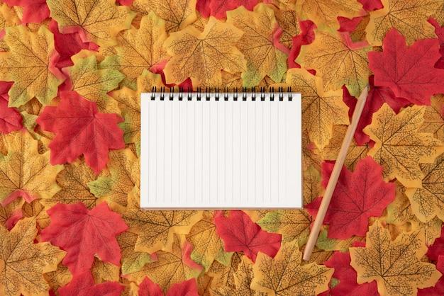 Boek en potlood op esdoornbladeren