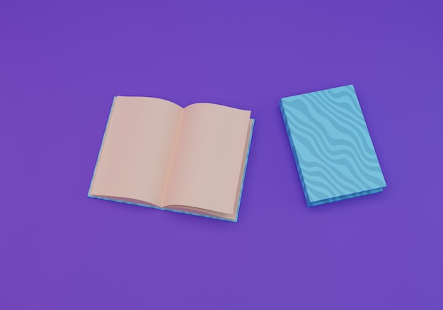 Boek illustratie, 3d-rendering