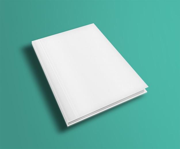Boek met blanke pagina voorbladsjabloon op trendy platte achtergrond met schaduwen.