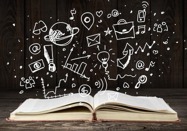 Boek met zakelijke tekening, ondernemerschap opleidingsconcept.