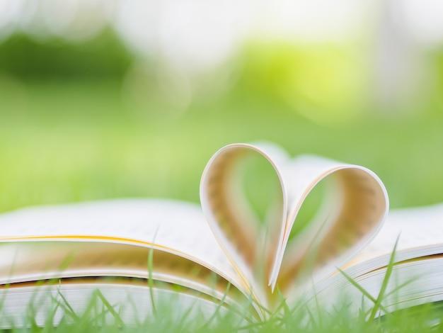 Boek op tafel in de tuin met de bovenste geopende en pagina's vormende hartvorm.