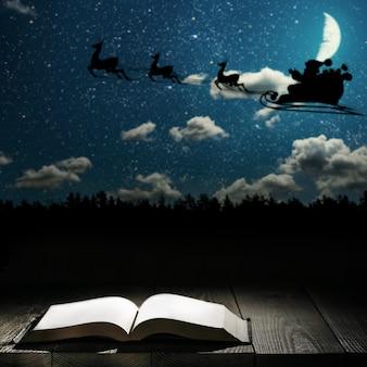 Boek tegen een nachtstad bij maanlicht