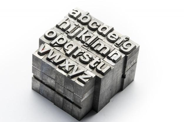 Boekdruk - blokletter engels alfabet en nummer